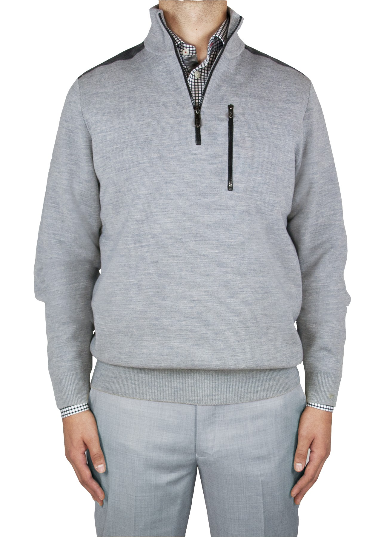 "Aristo 18 ""Dunkirk"" 1/4 Zip Mock Commando Sweater - Wool/Cotton"