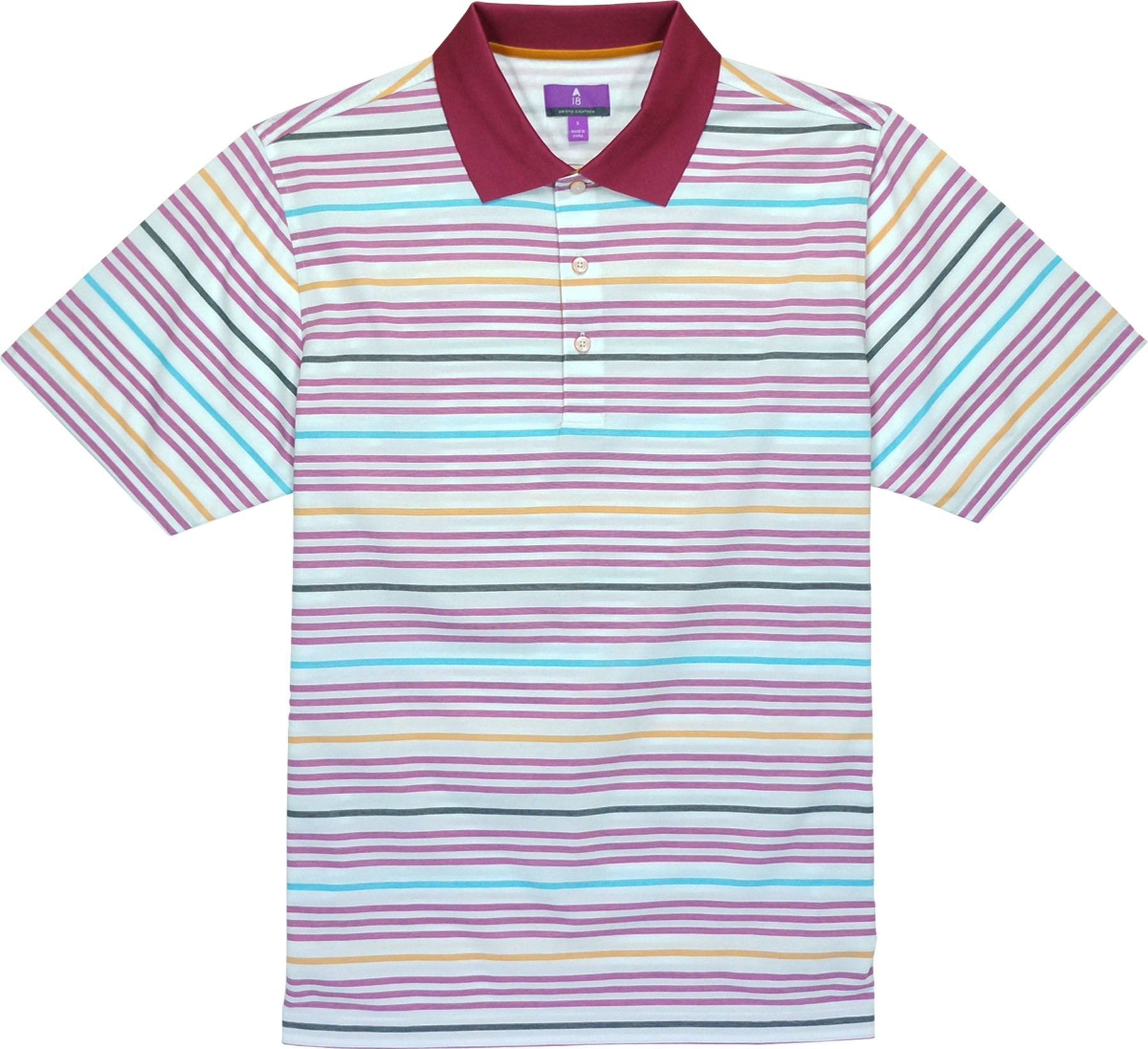 "A-18 ""Newport"" Multi Stripe Polo Shirt - Hybrid-Tech"