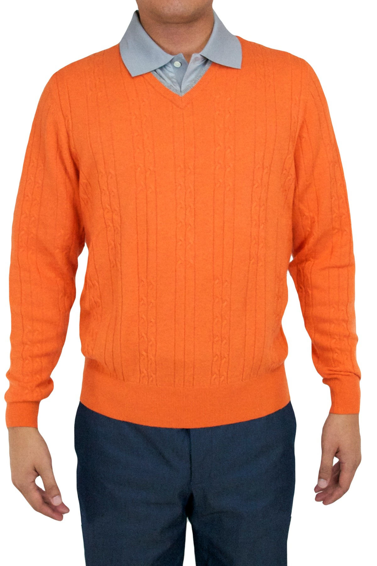 "Aristo 18 ""Selkirk"" V-Neck Broken Cable Knit Sweater - Cashmere"