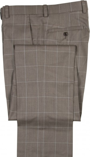 "Aristo 18 ""Stirling"" Flat Front Trouser - Luxury Wool Windowpanes"