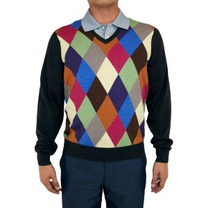 "Aristo 18 ""Oban"" V-Neck Argyle Sweater - Merino Wool"